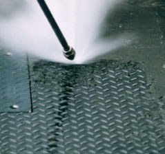 high pressure cleaning of diamond plate